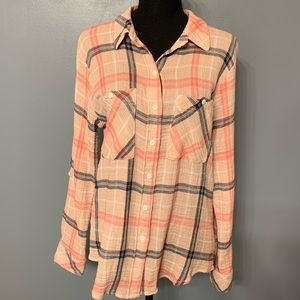 Sanctuary Tomboy Plaid Shirt Size Large